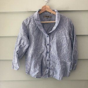 Flax Gingham Leaf Print Linen Button Down S